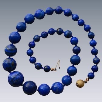 Collector Quality Natural Lapis Lazuli Necklace with 14 Karat gold