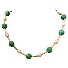 Jadeite and Freshwater Pearl necklace with 24 Karat Vermeil