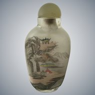 Chinese glass painted snuff bottle: Circa 1960's