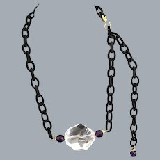 Faceted Rock Crystal Quartz necklace with Amethyst and Vermeil