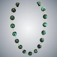Malachite and Vermeil necklace