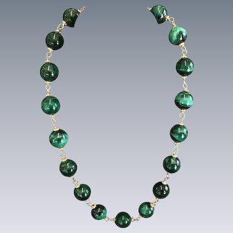 Malachite and Vermeil necklace