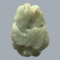 Early Republic Era Jadeite Rooster with Lotus Blossom
