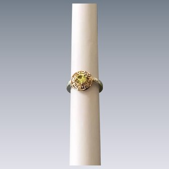 Natural Chrysoberyl ring with 14 Karat Gold and Sterling silver