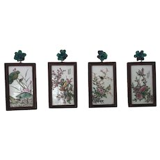 Set of Chinese Porcelain Wall Ornaments : Nature scenes with birds