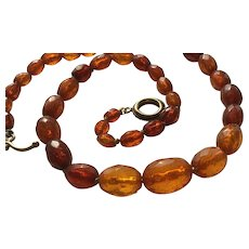Antique faceted Amber Beads