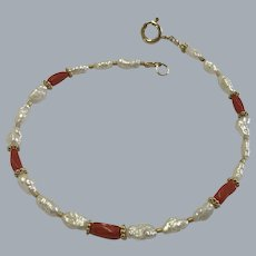 Oxblood Coral and Freshwater Pearl Bracelet with Vermeil