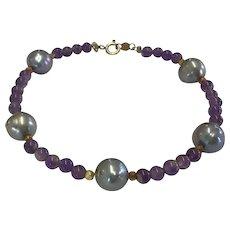 Amethyst and Grey Pearl Bracelet