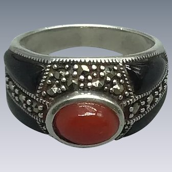 Oxblood Coral and Black Onyx Ring with Marcasite and Sterling Silver