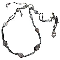 Botswana Agate and Venetian Glass ribbon necklace
