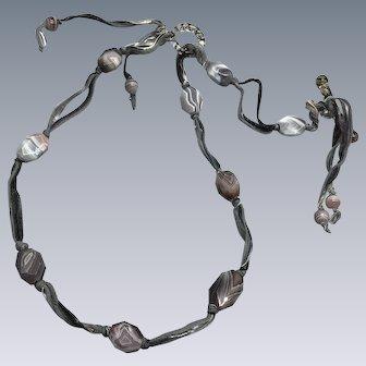 Botswana Agate and Venetian Glass ribbon necklace