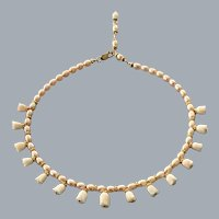 Angel Skin Coral and Pearl necklace