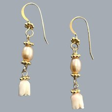 Angel skin Coral and Pearl earrings