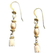 Angel skin Coral and Pearl earrings
