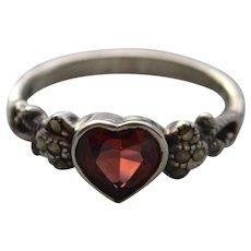 Heart Shaped Garnet Ring