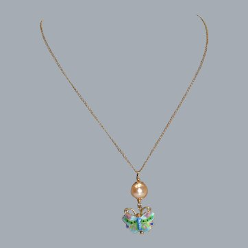 Enamel Butterfly with Cultured Pearl