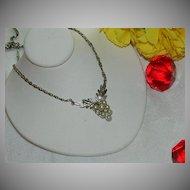 Early Avon Pot Metal Grape Cluster Pendant ~ Rhinestones Faux Pearls