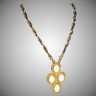 "Big Bold Vintage Milk Glass Cab Necklace ~  24"" Chain"