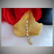Gorgeous Brushed Gold Tone Baguette Rhinestone Leaf Brooch