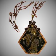 Aztec! Vintage Mixed Metals Mother and Child Pendant, Hallmarked