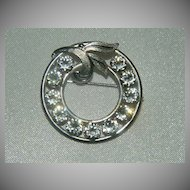 Stunning Van Dell Sterling Rhinestone Circle Brooch