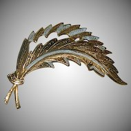 Lovely Large Toledo Ware Damascene Feather Brooch