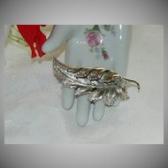 Beautiful Pegasus Coro Silver Tone Leaf Brooch ~ Dramatic