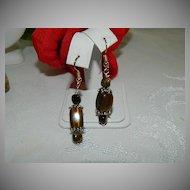 Hand Made Tiger Eye Earrings Sterling Findings