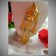 """Huge Happy Gold Tone Clown Pendant ~ 5.5"""" Articulated"""