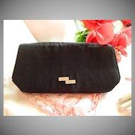 Elegant French Black Rhinestone Handbag  ~ Marked Paris GI