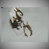 Victorian Gold Filled Double Wishbone Brooch & Earrings Paste Stones