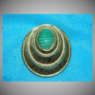 "Sarah Coventry ""Siam Set"" Jade Green Art Glass Brooch Pendant"