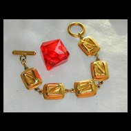 Rich Gold Tone Carol Dauplaise Signed Link Bracelet