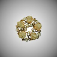 Early Carved Celluloid Rose Wreath Brooch ~ AB Stones