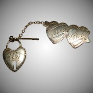 Charming 1952 Sweetheart's Chatelaine Pin Heart Lock & Key Engraved