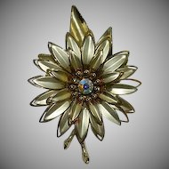 Huge Beautiful Gold Tone AB Stone Flower Brooch