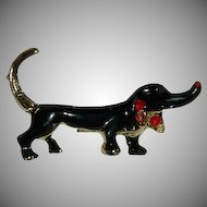 Darling Black Enamel Wiener Dog Brooch