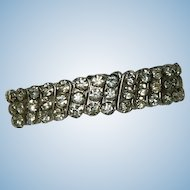 Hefty Mid Century Triple Row Rhinestone Expansion Bracelet