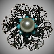 Prime Sterling Filigree & Turquoise Glass Stone Brooch