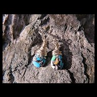 Jackie O ~ Wrapped Sterling Mosaic Turquoise Briolette Earrings