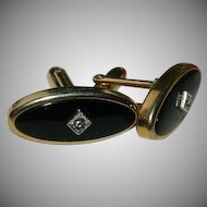 Art Deco Black Enamel Rhinestone Cuff Links