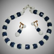 Marvella Signed Navy Blue White Lucite Beaded Necklace & Earrings