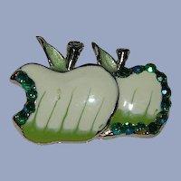 Vintage Fruity Bitten Green Apple Enamel Brooch Pin Rhinestones