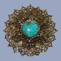 Amazing Genuine Turquoise Vintage Filigree Brooch