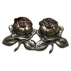 Stamped Brass Rose Earrings ~ Pierced