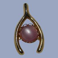 Vintage Pink Moonglow Wishbone Pin