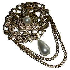 Huge Stamped Brass Faux Pearl Swag Brooch