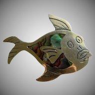 Pedro Castillo Sterling Abalone Fish Brooch ~ Made in Mexico Castillo Marks