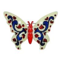 Amazing Enamel Figural Butterfly Brooch ~ Huge Creamy Cobalt Blue Reds W.Germany