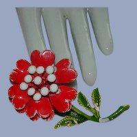 Huge Blood Red Faux Pearl Center Enamel Flower Brooch ~ Carnation